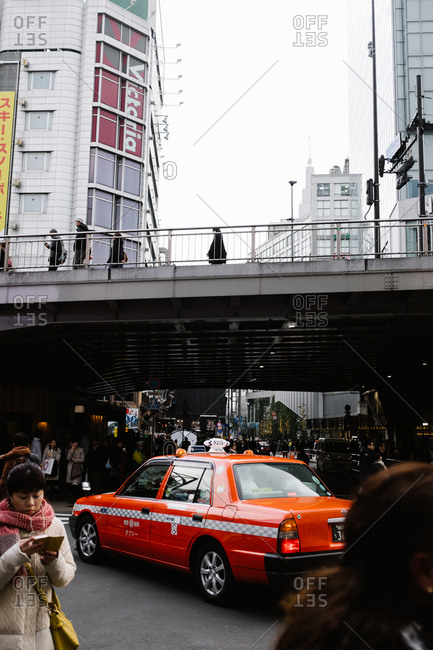 Tokyo, Japan - February 11, 2018: Red taxi in Tokyo