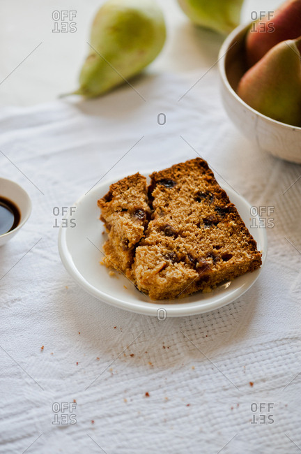 Raisin bread with coffee and pears