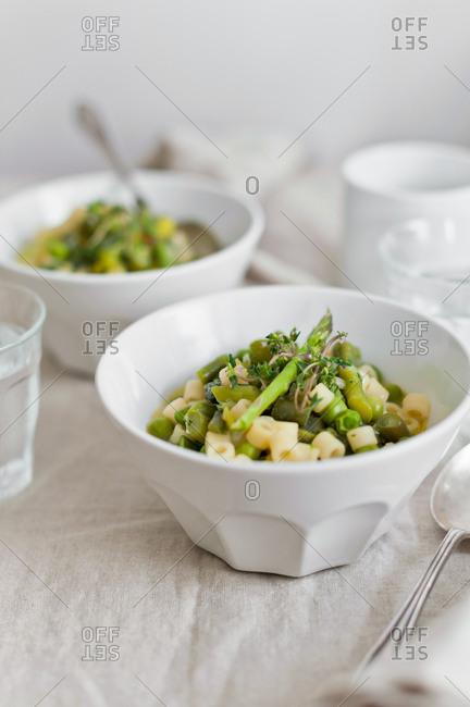 Vegetarian pasta and green veggie dish