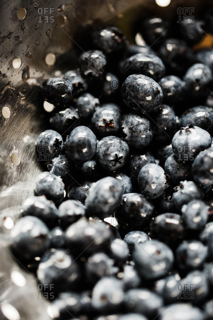Close up of wet blueberries in a colander