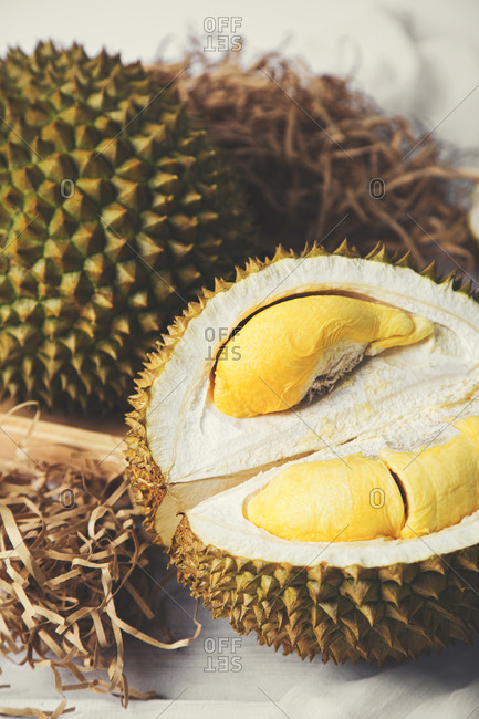 Open durian with fruit