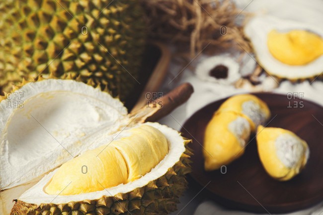 Close-up of fresh durian fruit