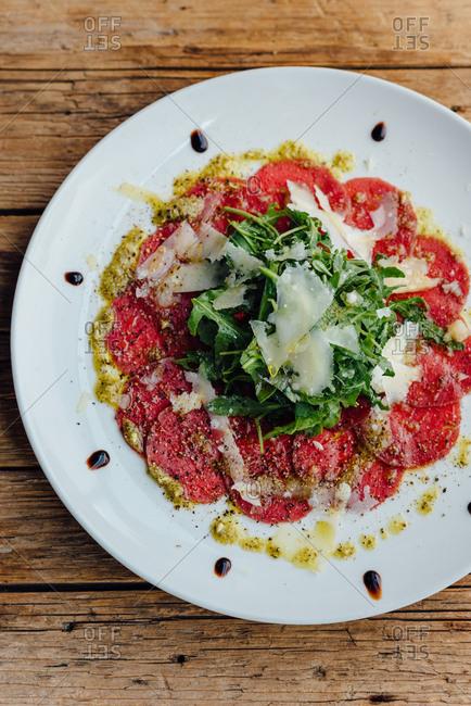 Overhead shot of Carpaccio salad