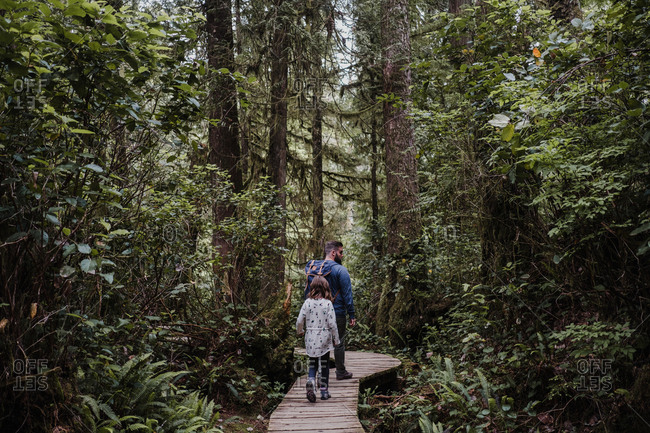 Father and daughter hiking in forest, Tofino, Canada