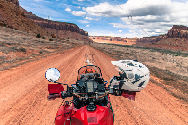 Motorcycle on trad climbing route, Indian Creek, Moab, Utah, USA