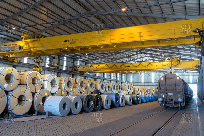 July 23, 2018: Rows of sheet steel in storage at port