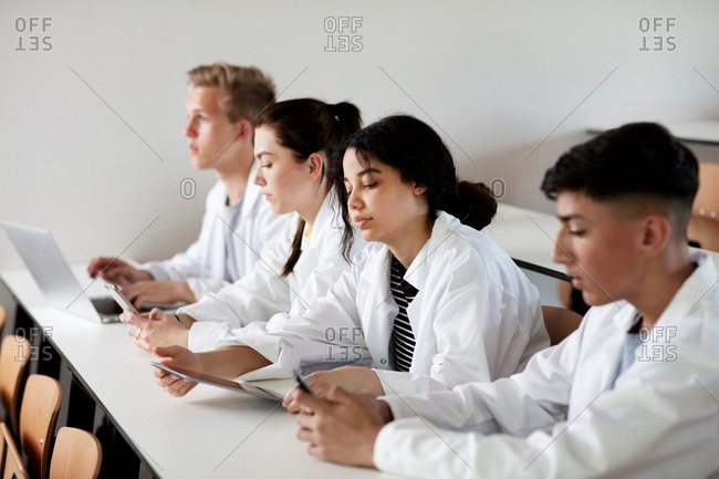 Students at desk in science class