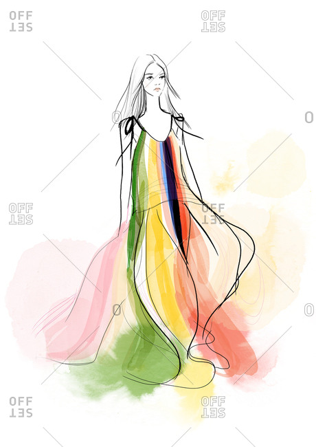 Fashion model wearing a colorful flowing dress