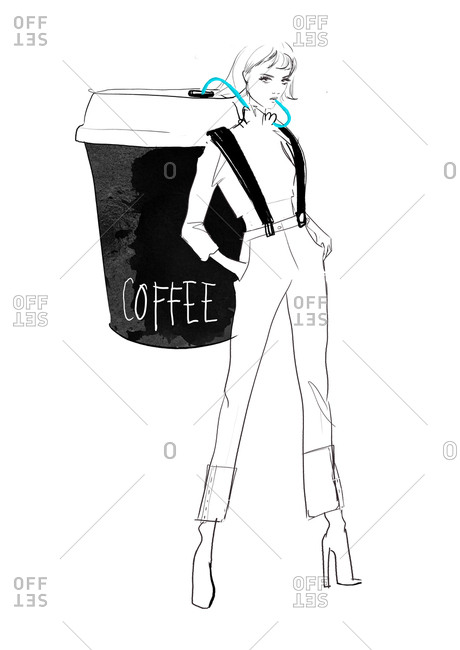 Woman drinking from an oversized coffee cup strapped to her back