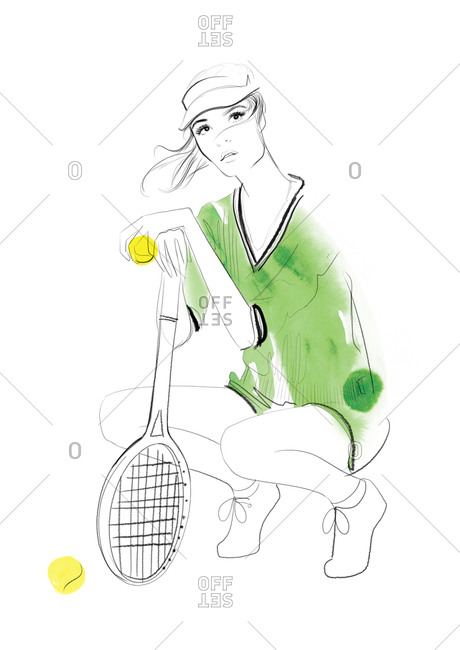 Fashionable young woman holding tennis racket and tennis ball
