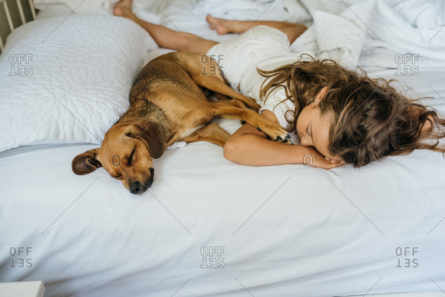 Girl and her pet dog sleeping together on bed