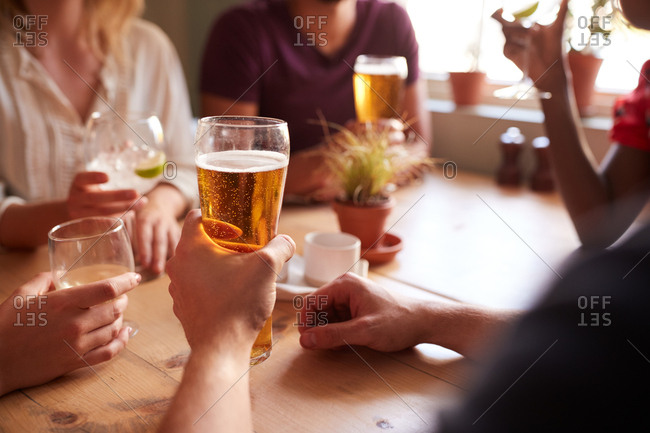 Young adult friends make a toast at table in a pub, vertical