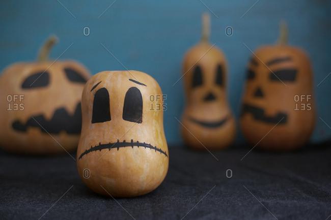 Halloween pumpkins on a blue background