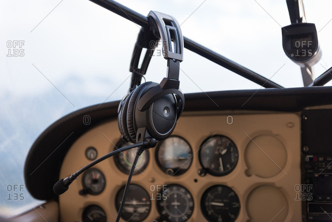 Close-up of aircraft Headset in cockpit