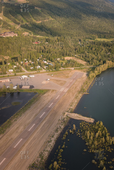 Aerial view of empty aircraft runway