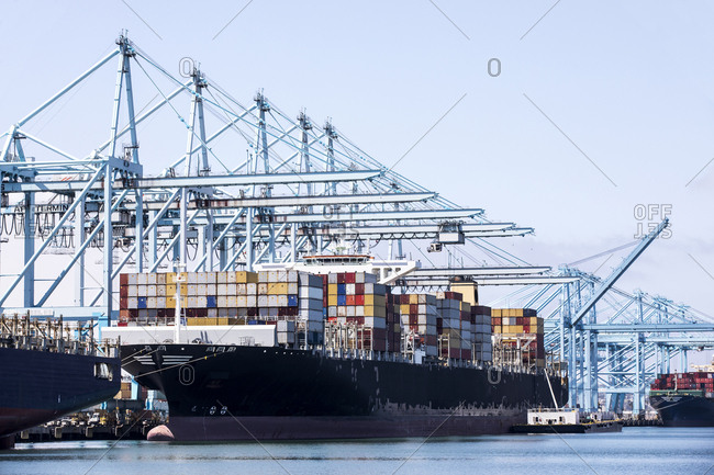 San Pedro, CA - June 28, 2018: Ship terminal at metropolitan port