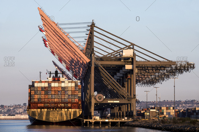 San Pedro, CA - July 6, 2018: Container ship at loading area in port