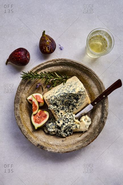 Plate with Gorgonzola Cheese and fresh figs