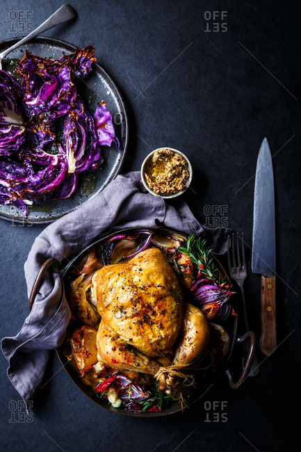 Roast chicken casserole with cabbage and vegetables