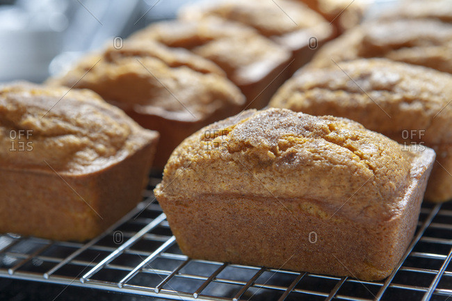 Mini Pumpkin Breads on Cooling Rack