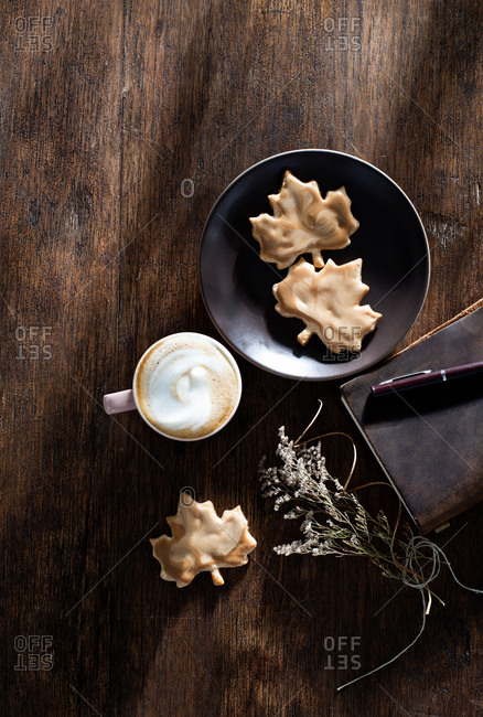 Maple Leaf Glazed Autumn Cookies with Cappuccino