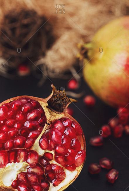 Pomegranate fruits with seeds