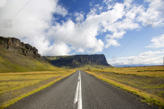 Two lane highway in the southern region of Iceland