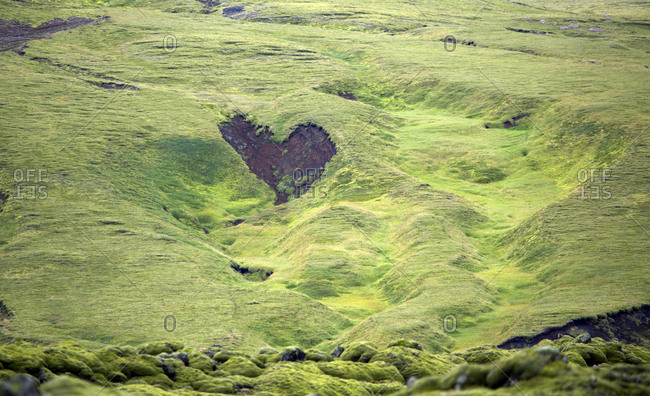 Heart shaped break in the ground in moss covered landscape