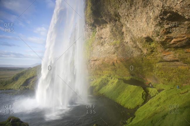 Seljalandsfoss waterfall at evening time