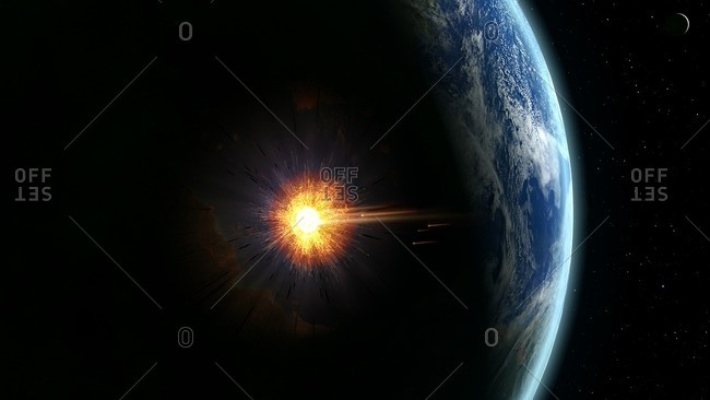 Illustration of a large asteroid colliding with Earth on the Yucatan Peninsula in Mexico