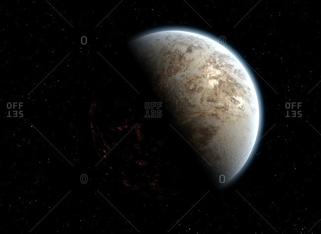 Illustration of a possible future Earth, its atmosphere riddled with dust and pollution