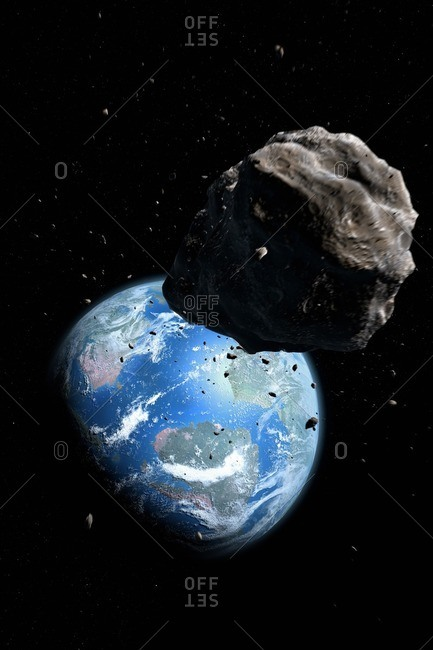 Illustration of an asteroid approaching the Cretaceous Earth, poised to exterminate the dinosaurs