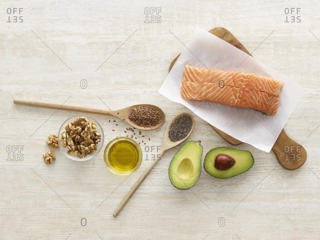 Foods high in omega three, studio shot.