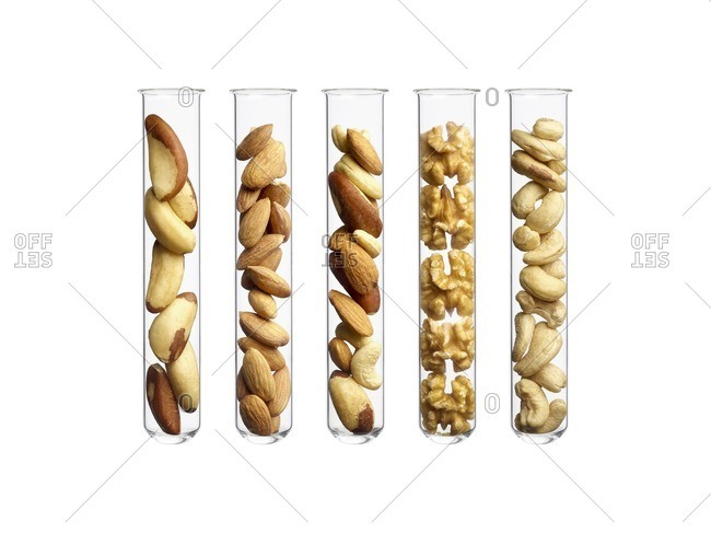 Nuts in test tubes, studio shot.