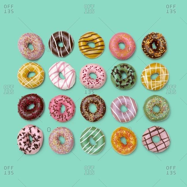 Colourful doughnuts, studio shot.