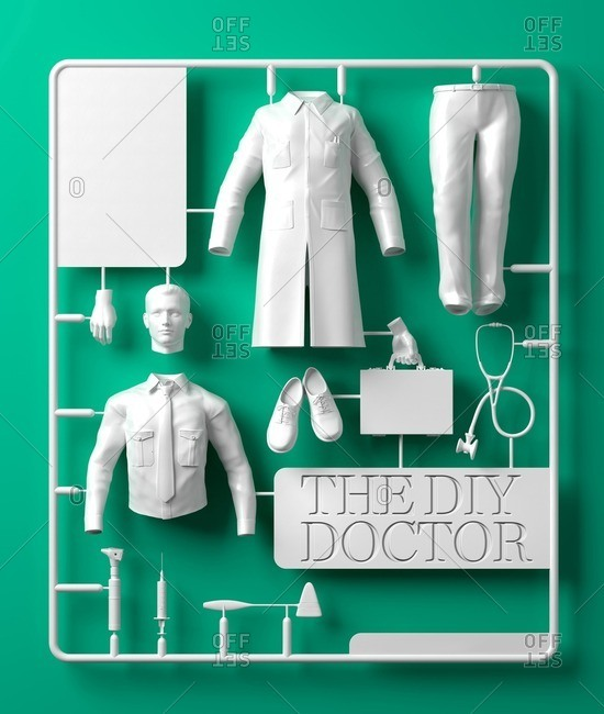 DIY doctor kit, computer illustration.