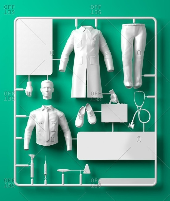 Model doctor kit, computer illustration.