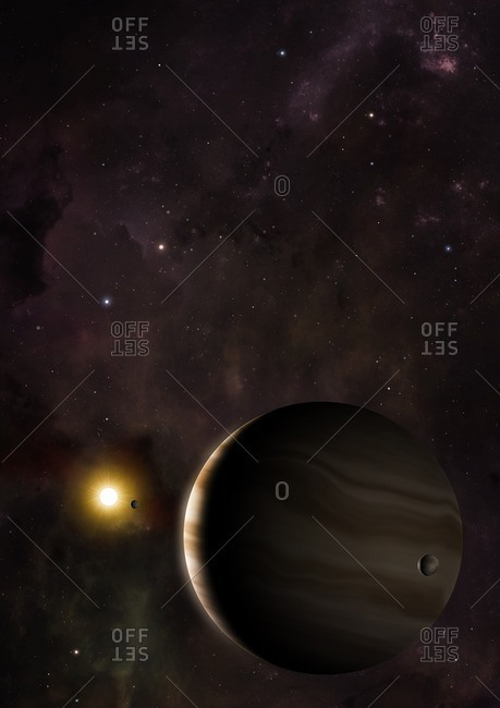 Illustration of the exoplanet (extrasolar planet) Wasp 39b. Wasp 39b is a so-called hot Saturn, with a mass about one-third that of Jupiter