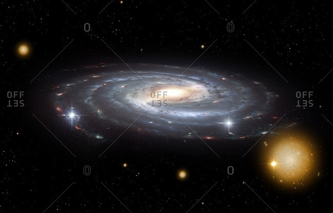 Illustration of the Milky Way Galaxy seen from an oblique vantage point. Shown are the central bar, spiral arms and several globular clusters.