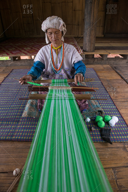 August 19, 2018: Karen Traditional Weaving by Karen Woman in Chiang Mai, Thailand.