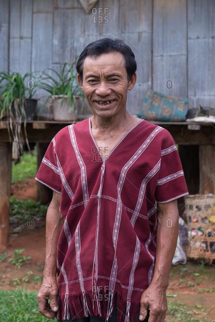 August 19, 2018: Portrait of Asian Karen Man in Traditional Cloths, Chiang Mai, Thailand.