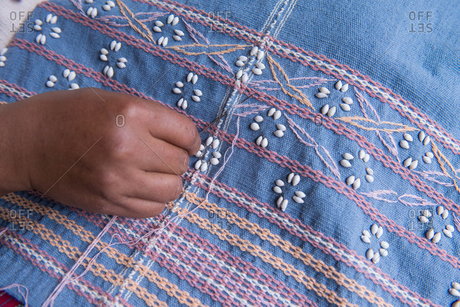 Close Up on Hand Knitting a Karen Traditional Cloths