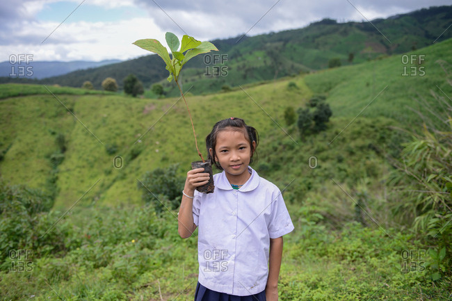 August 27, 2018: Asian Youth Holding Up Small Teak for Planting to Renew the Forest Tree for Planting to Renew the Forest. Chiang Mai, Thailand.