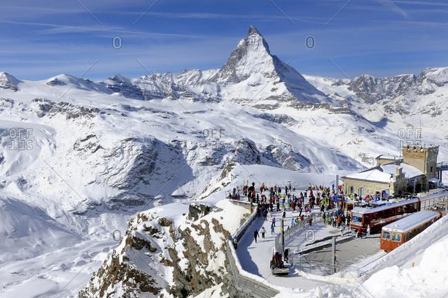 February 24, 2014: Switzerland, Canton of Vaud, Zermatt ski resort, Matterhorn and Gornergrat railway station