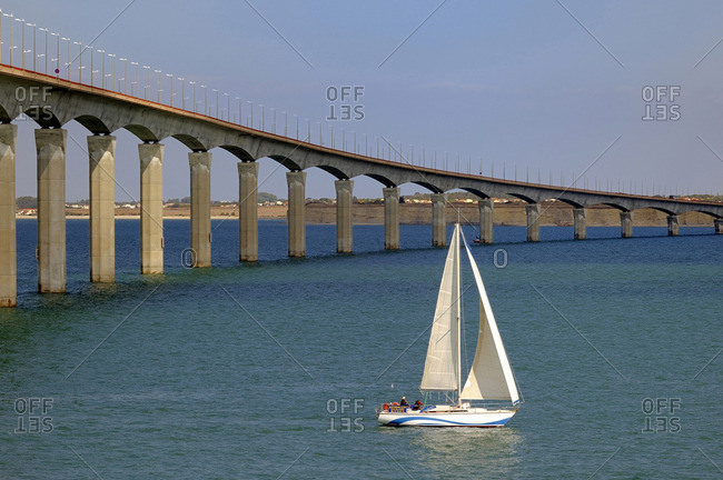 October 3, 2009: France, Atlantic coast, Ile de Re, bridge that link the continent and the island