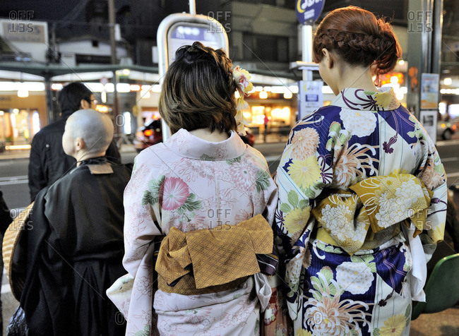 Japan, Kyoto, Gion, Maikos wearing kimonos in the Geishas district