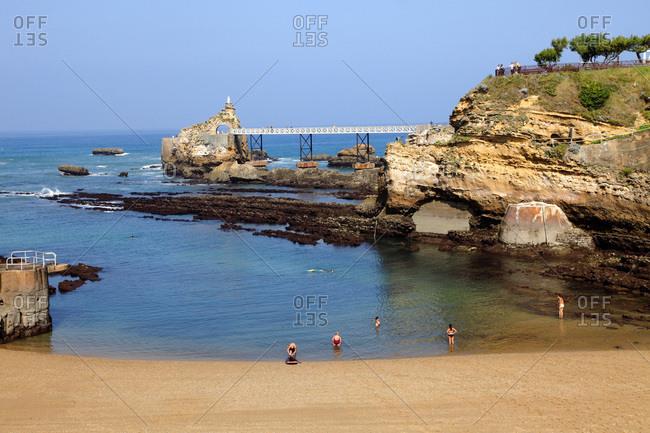 June 13, 2018: France, Aquitaine, Pyrenees Atlantiques (64) , Basque country, Biarritz, Port vieux beach and Rocher de la Vierge or the Virgin's Rocks