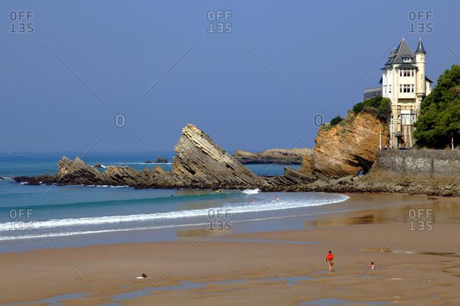 France, Aquitaine, Pyrenees Atlantiques (64) , Basque country, Biarritz, cote des Basques beach and Villa Belza