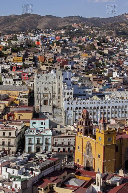 March 7, 2014: Mexico, Guanajuato state , Guanajuato. General view panorama from  the statue Pipilla, Basilica and University