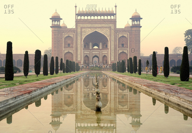 March 17, 2011: India, Agra, Taj Mahal Complex, red sandstone entrance